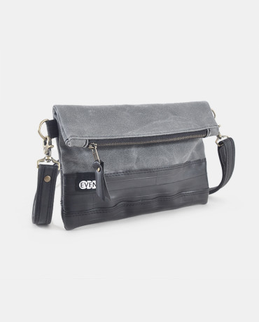 charcoal waxed canvas foldover clutch