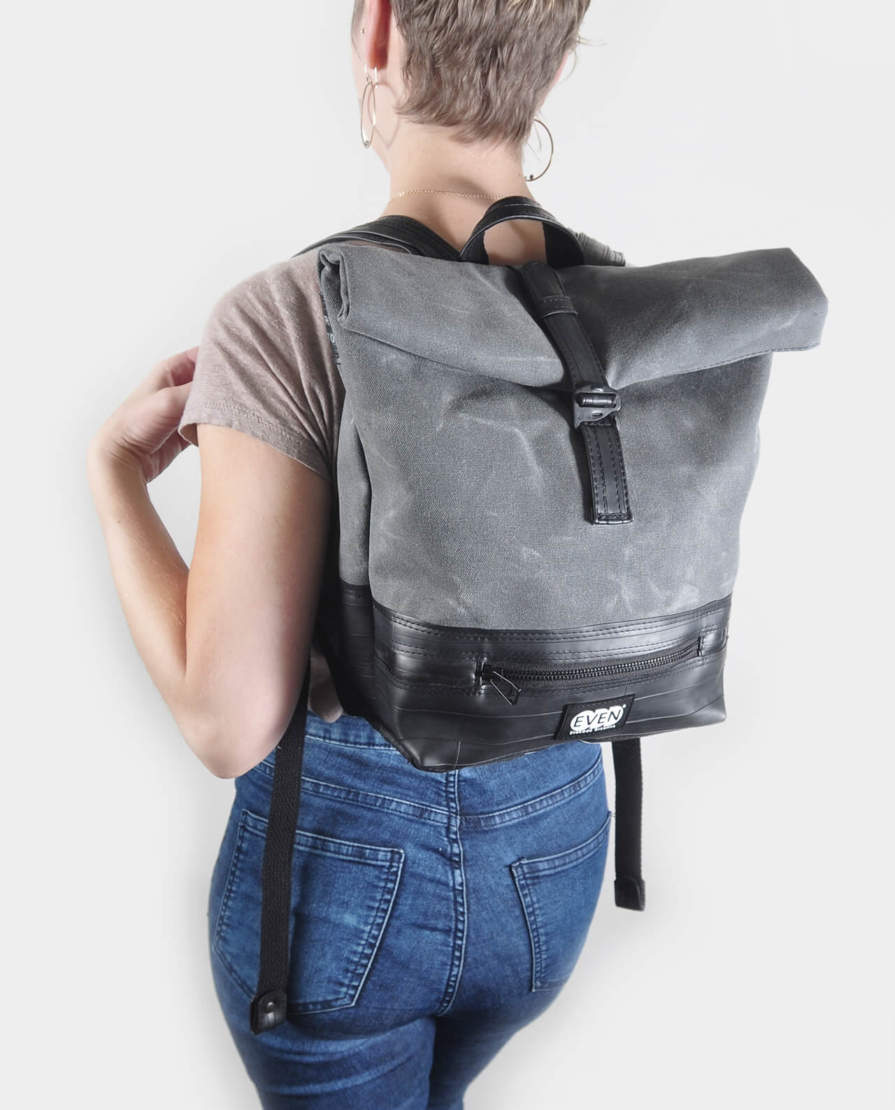 small charcoal grey backpack