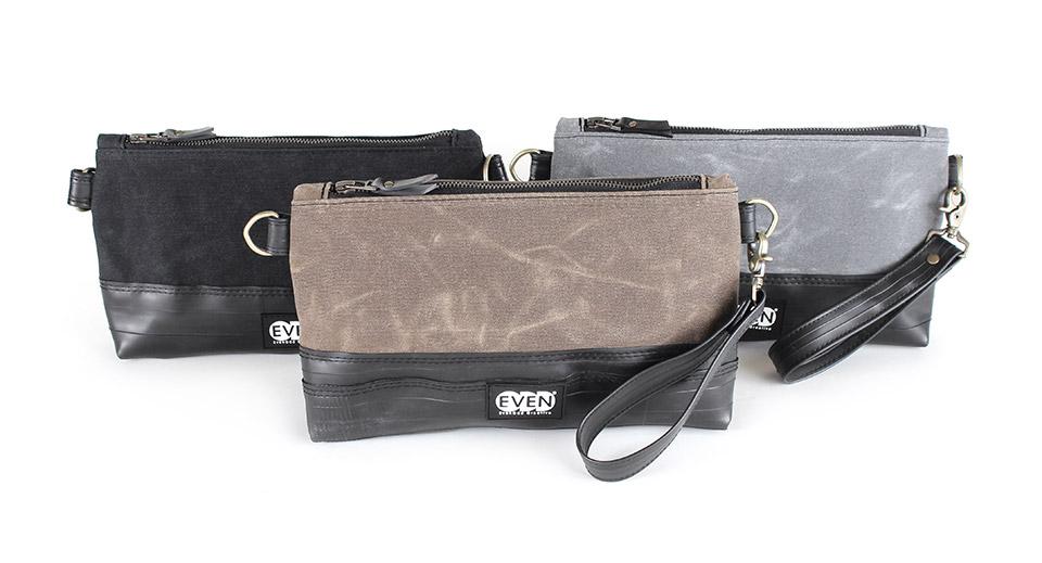 crossbody clutch in black tan or grey waxed canvas