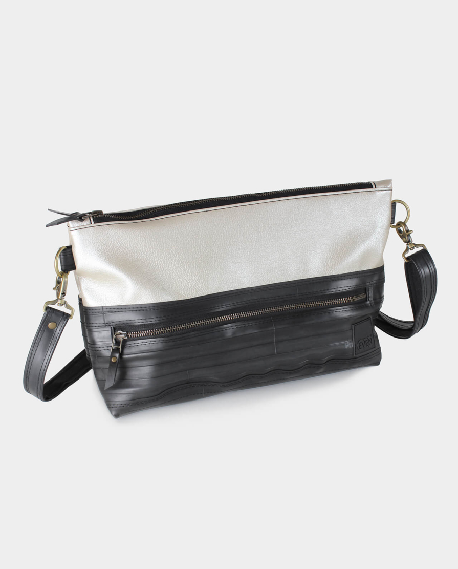 metallic pearl vegan leather crossbody bag
