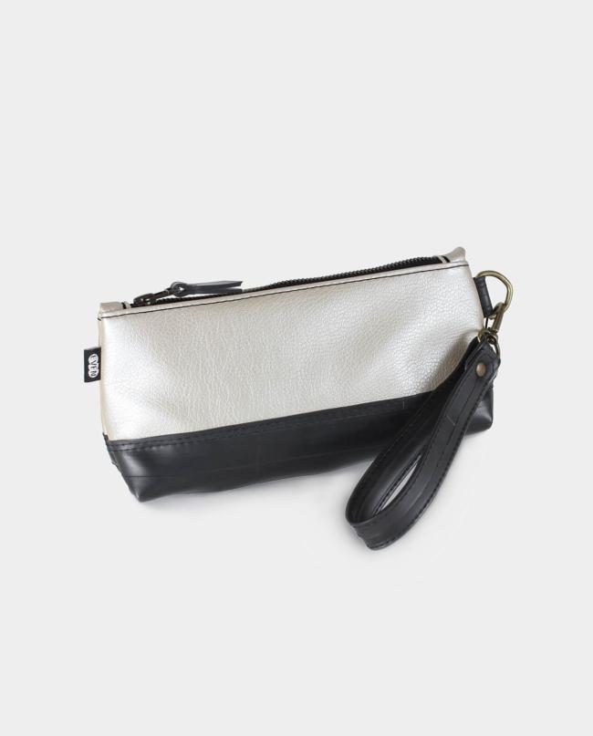 metallic vegan leather clutch