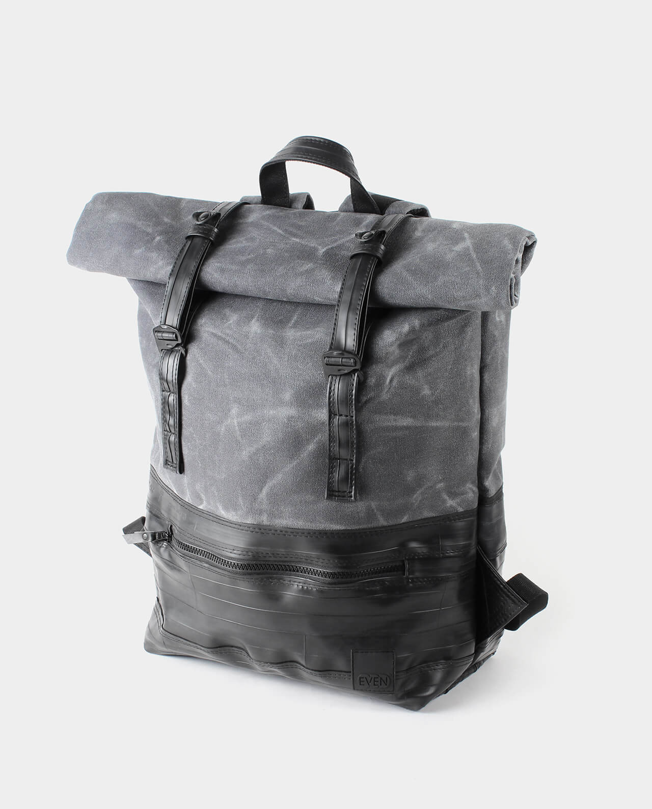 rolltop daypack in waxed canvas