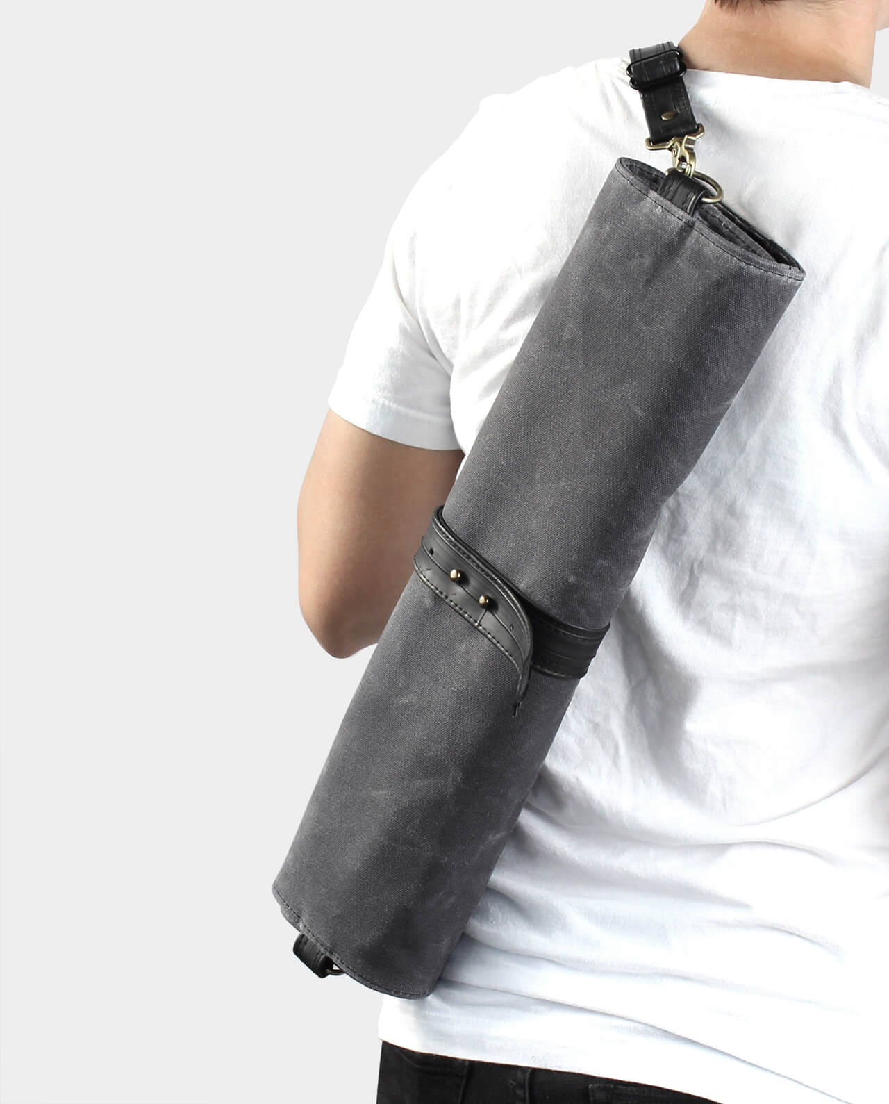 waxed canvas chef knife roll with strap