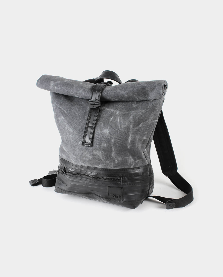 small waxed canvas rolltop backpack