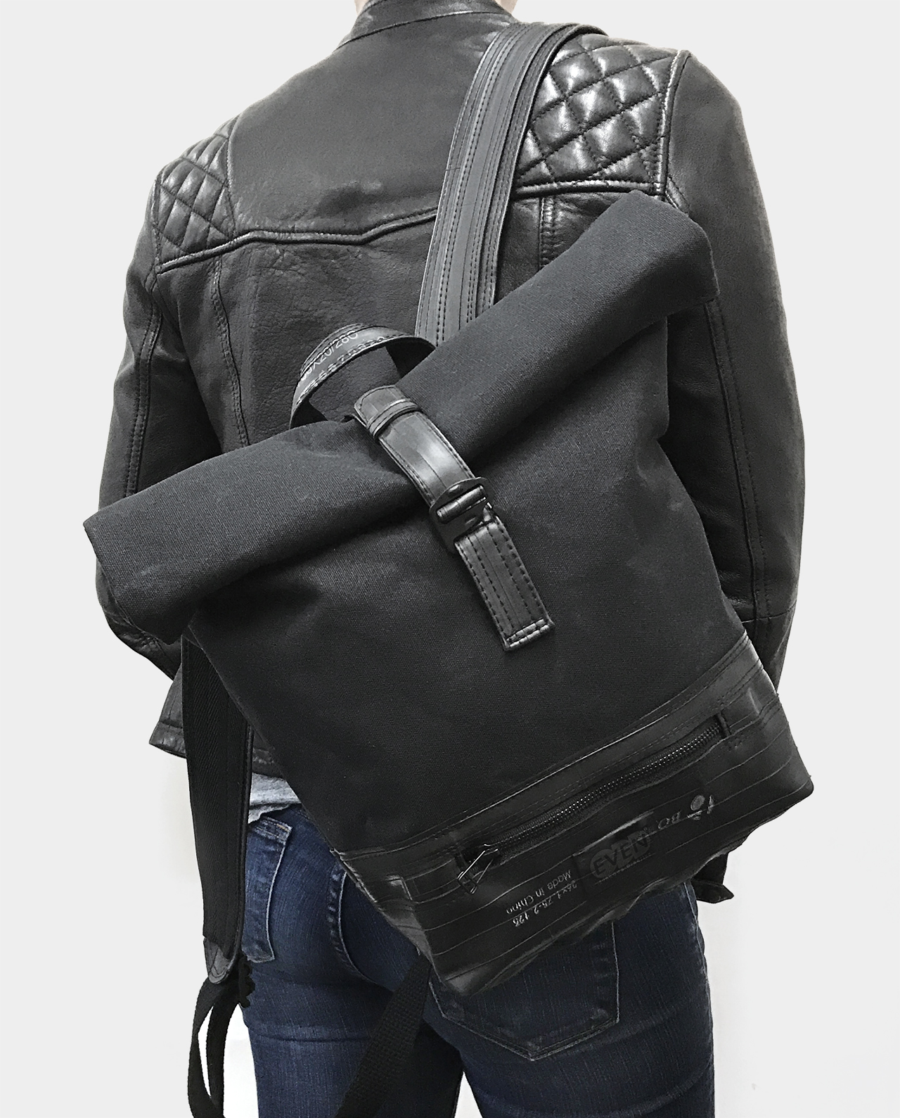 waxed canvas small roll top backpack black