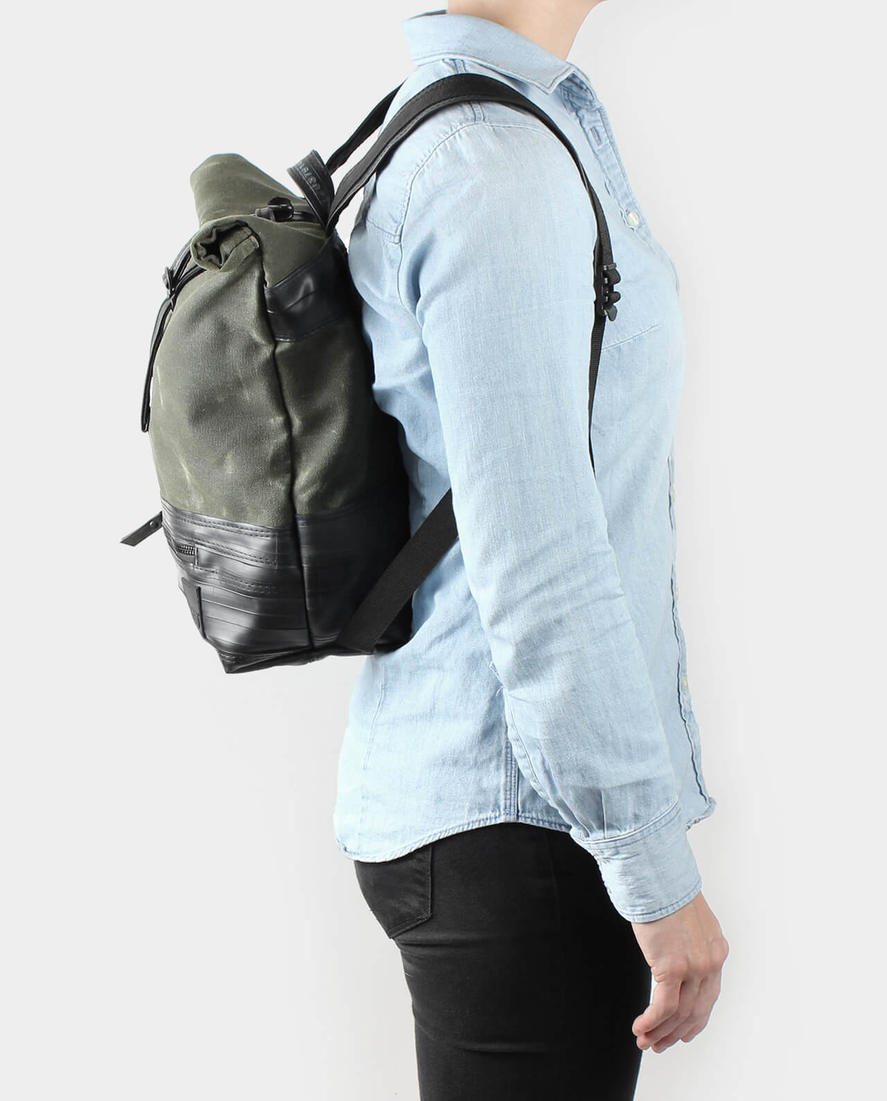 olive waxed canvas rolltop backpack