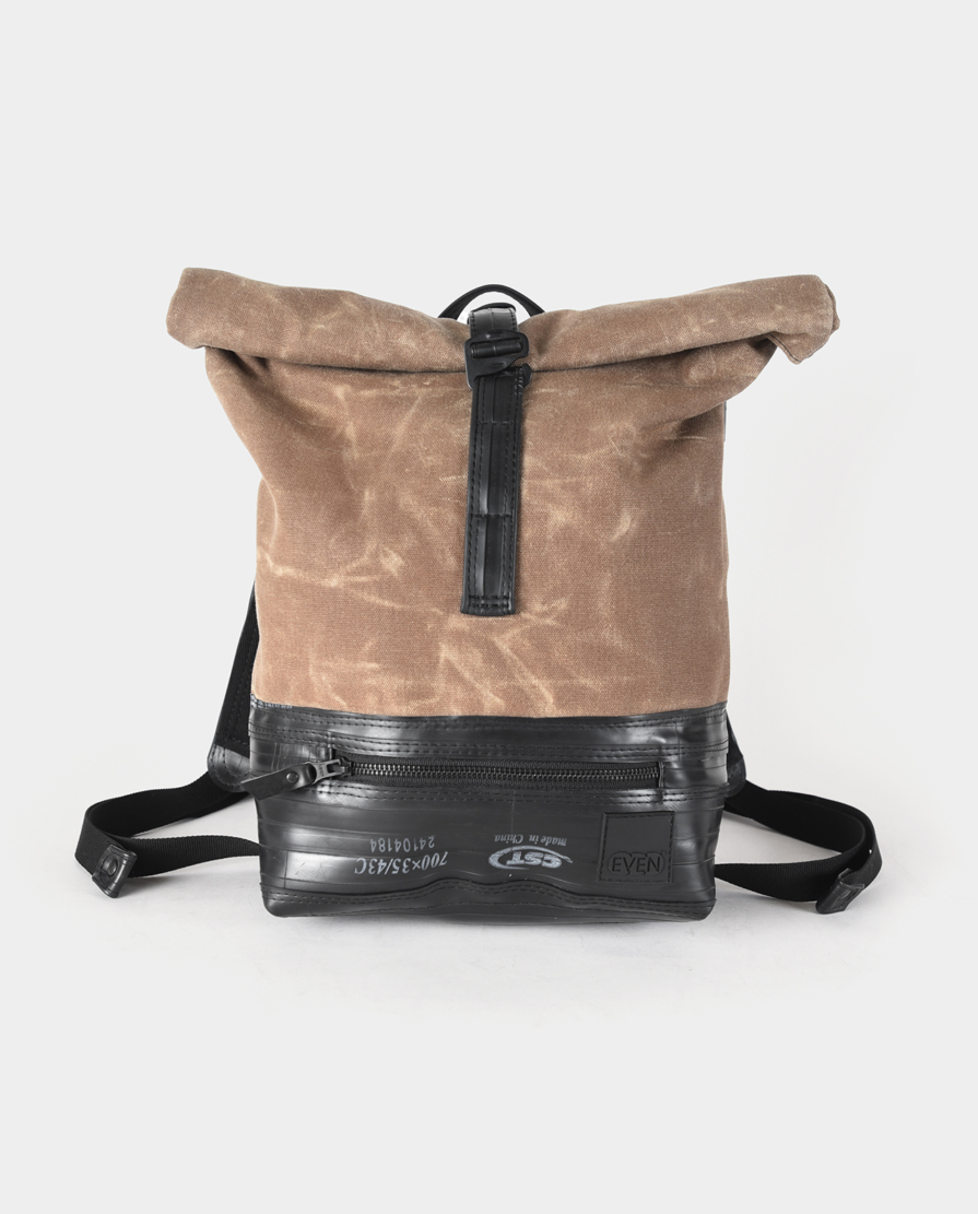 waxed canvas small roll top backpack field tan