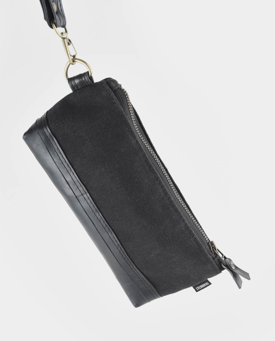 black waxed canvas wristlet clutch