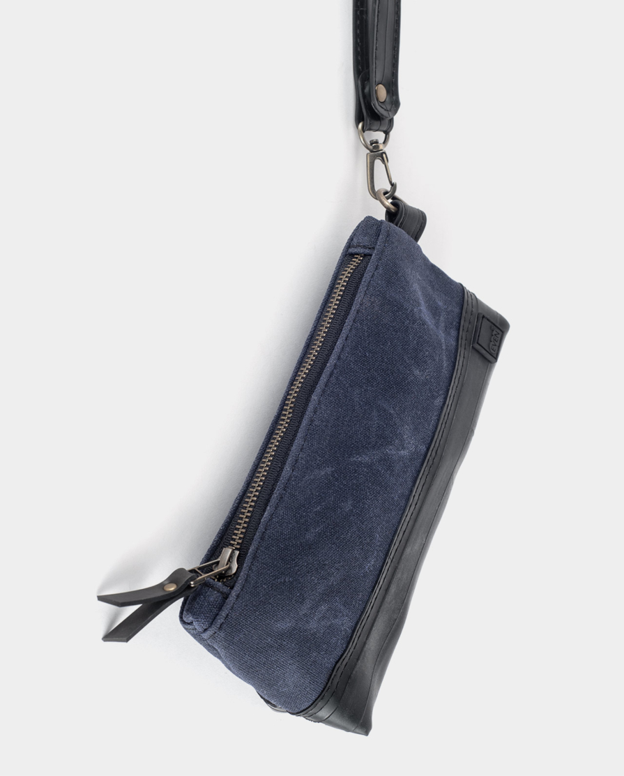 navy blue waxed canvas clutch
