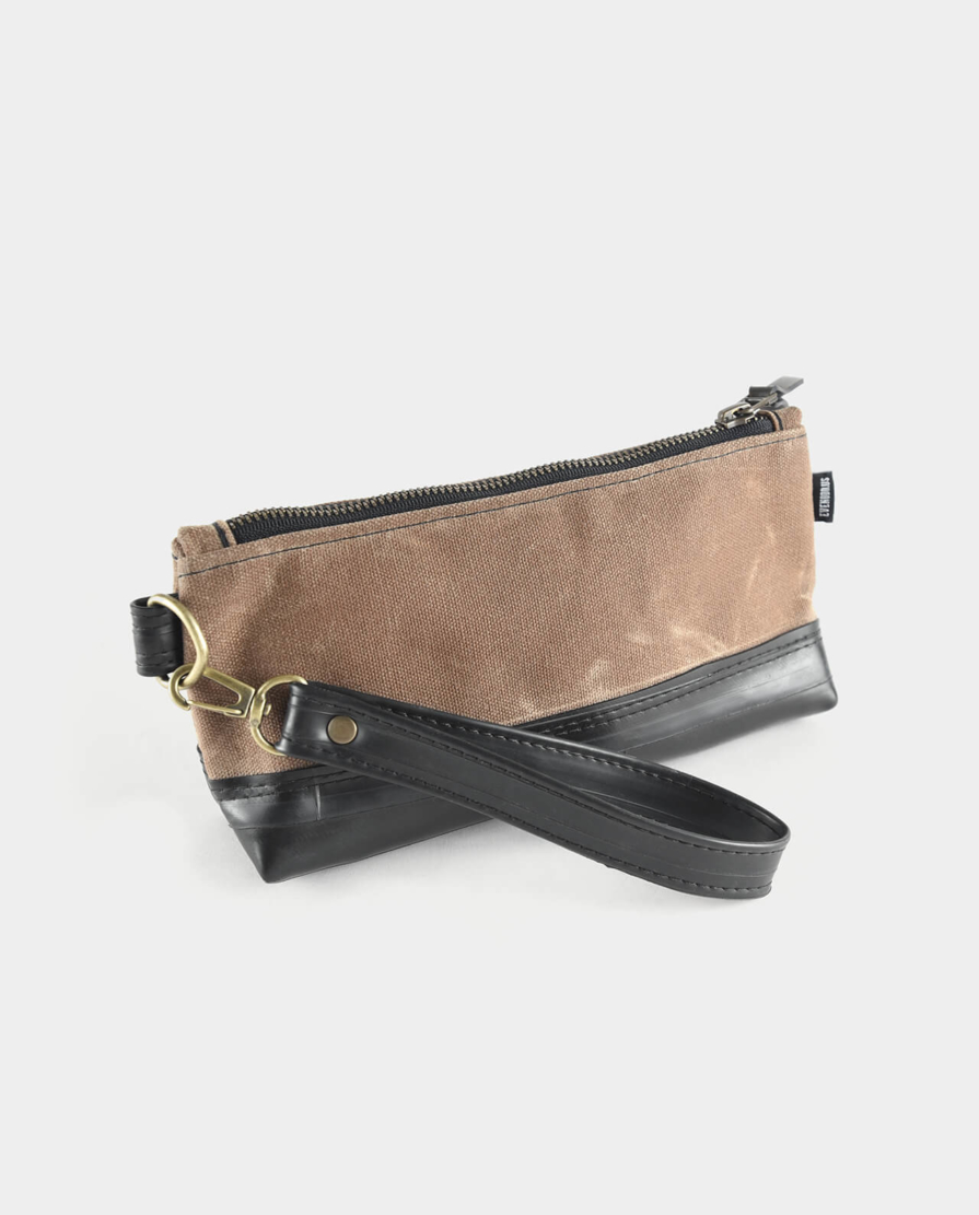 field tan waxed canvas wristlet clutch