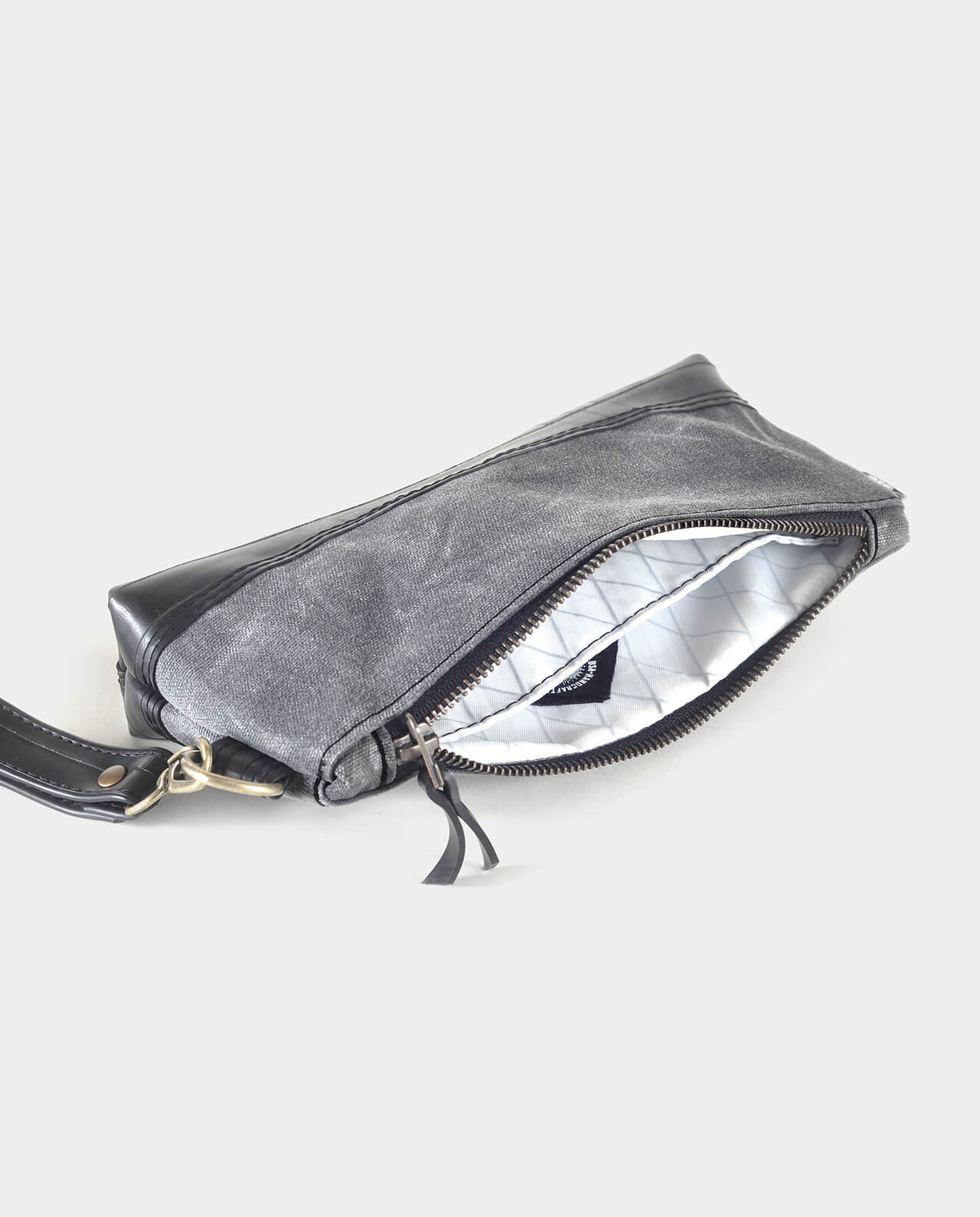 waxed canvas wristlet clutch