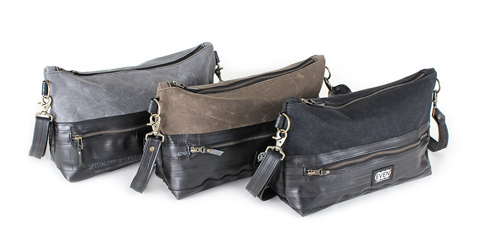 delphine bag in tan grey black waxed canvas