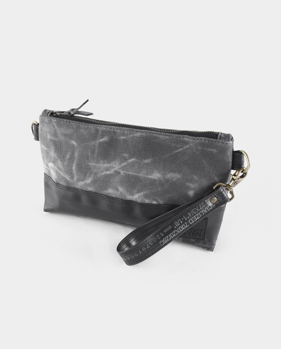 charcoal waxed canvas crossbody clutch