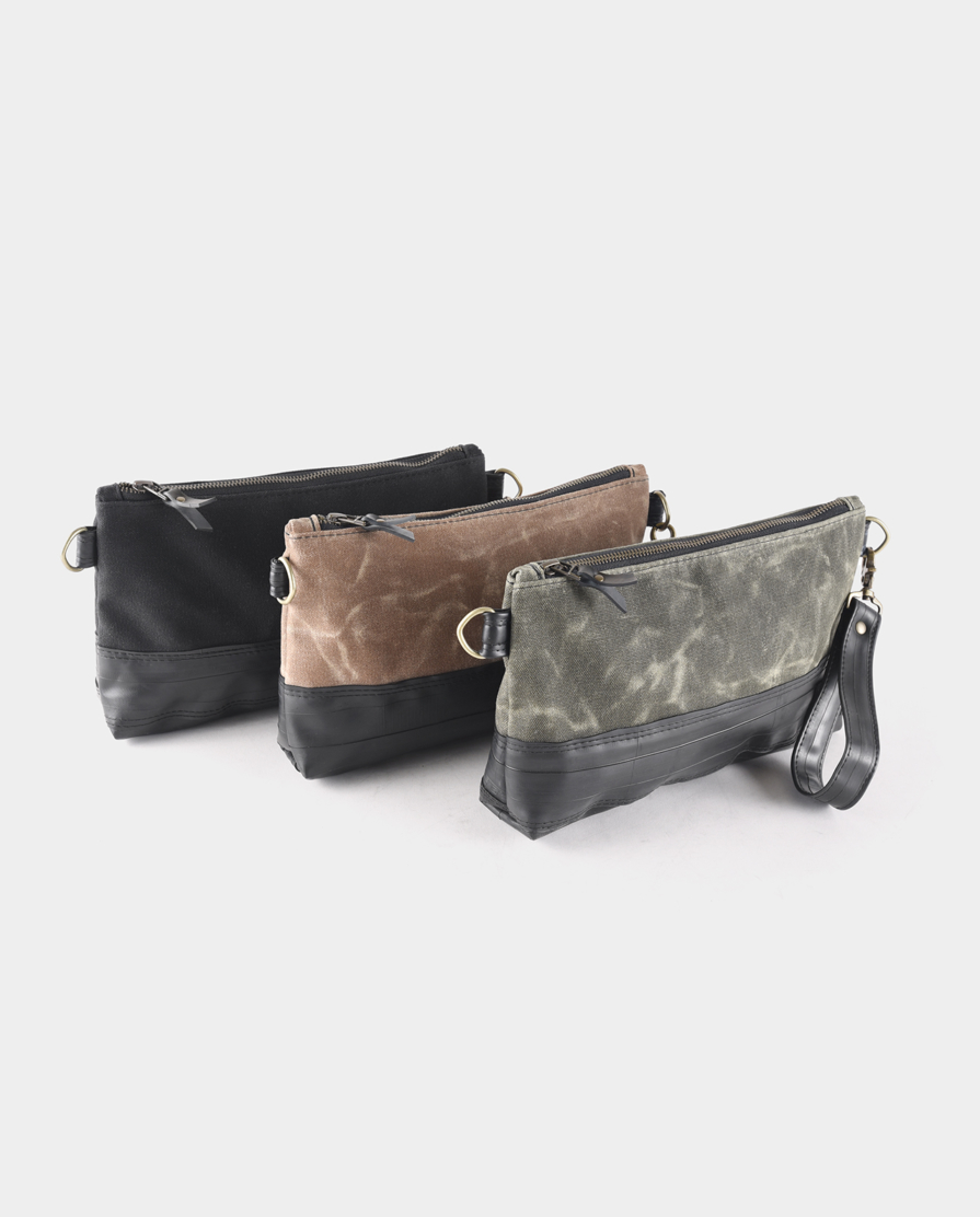 black, tan and olive waxed canvas crossbody clutch