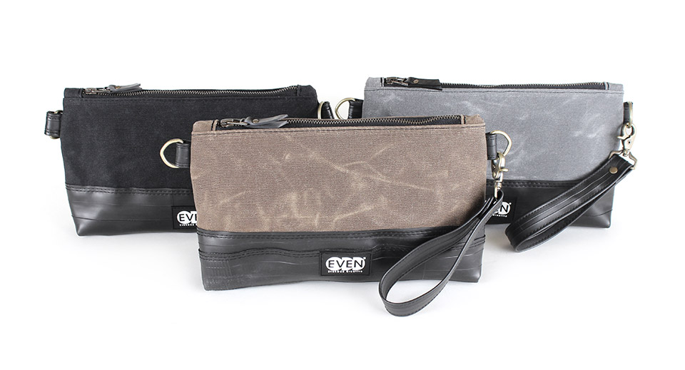 crossbody clutch in black tan or grey waxed canvas