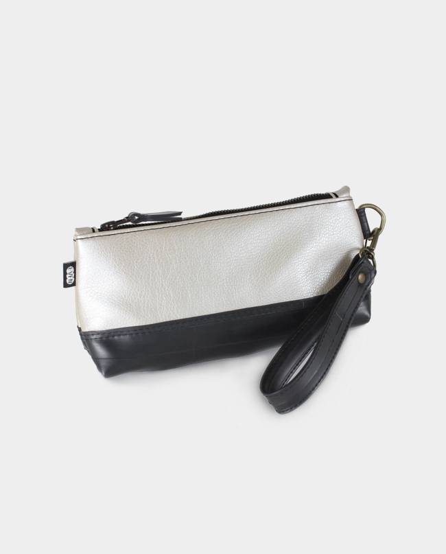 metallic vegan leather clutch