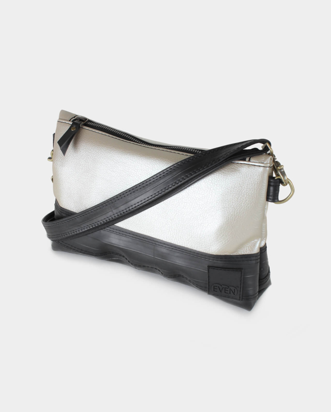 metallic pearl vegan leather crossbody clutch