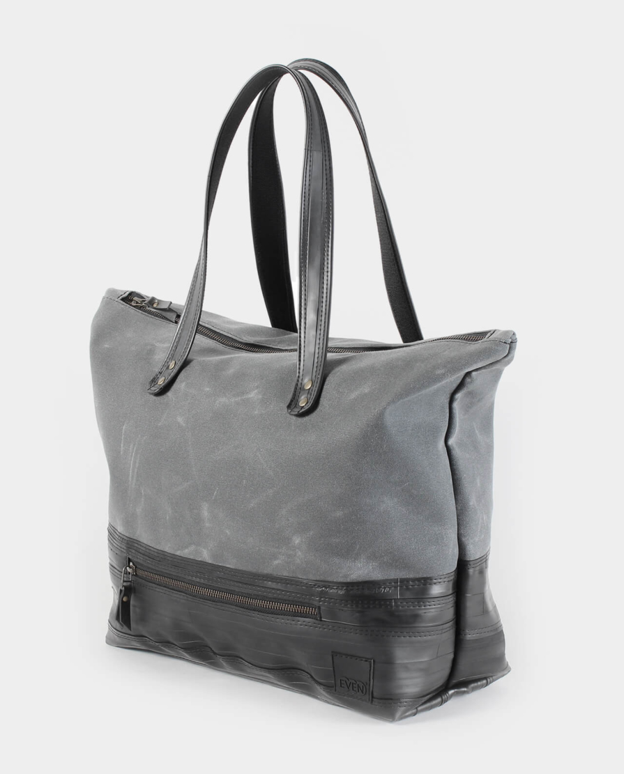 waxed canvas zippered carryall tote bag