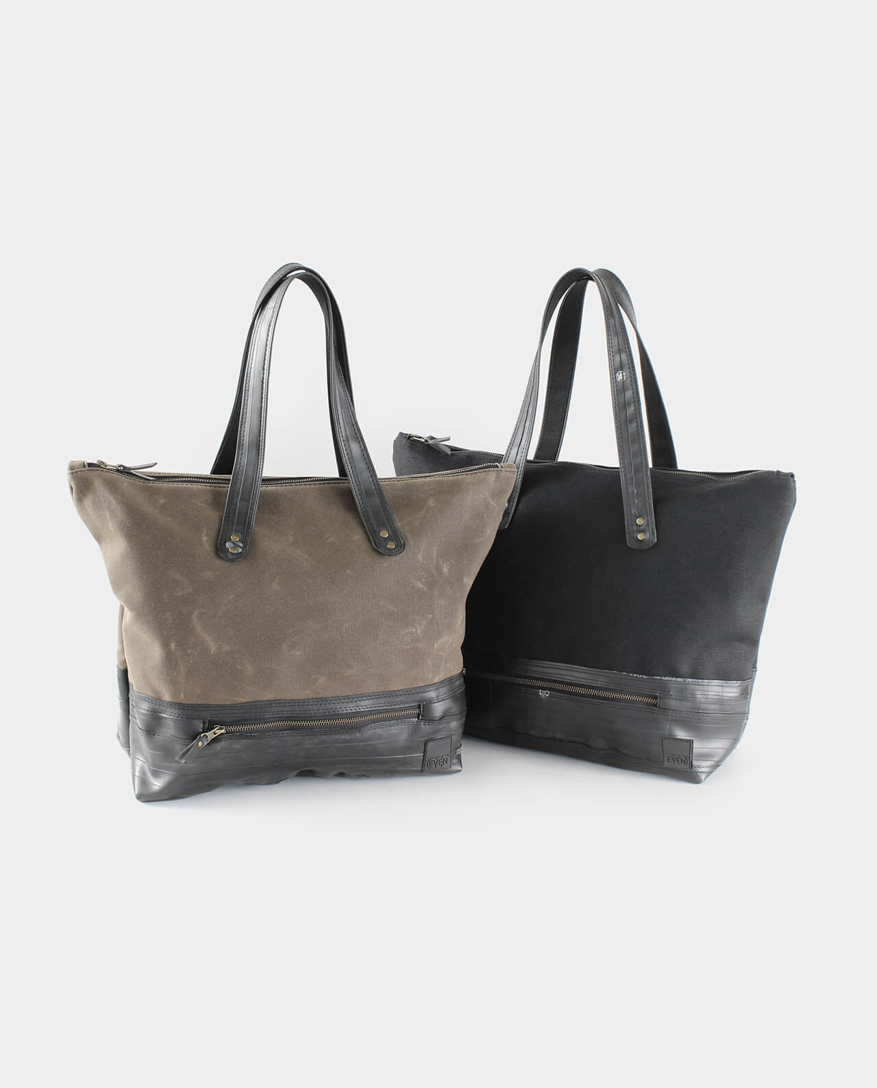 waxed canvas tote with recycled bike inner tubes
