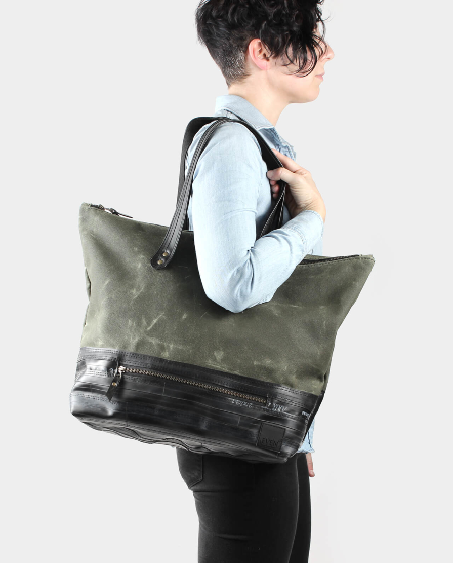 olive green waxed canvas carryall tote