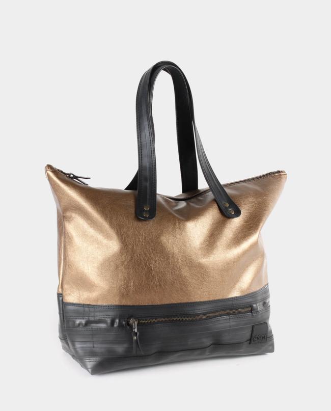 metallic copper zippered tote bag