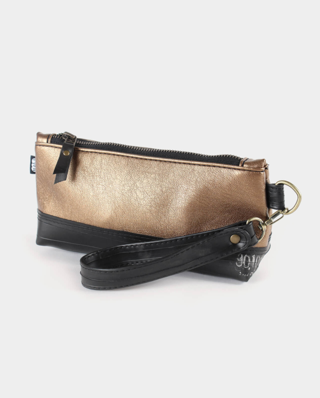 metallic copper wristlet clutch