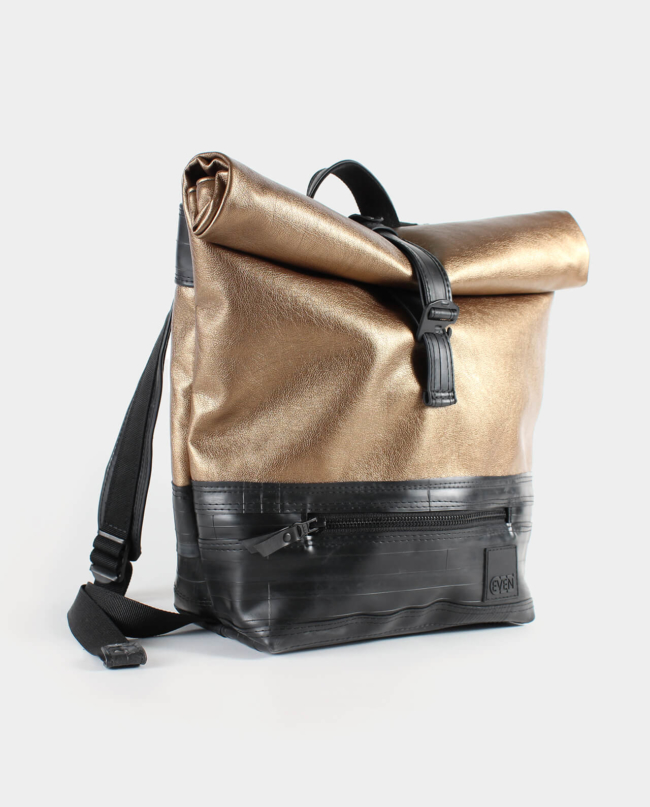 metallic copper backpack