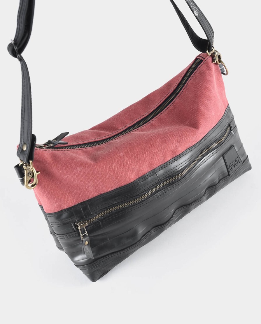 salmon waxed canvas crossbody bag
