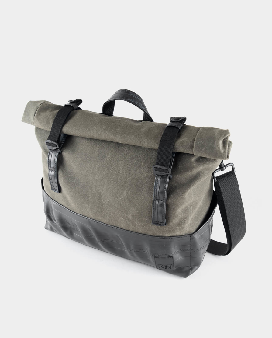 laptop messenger bag olive green waxed canvas