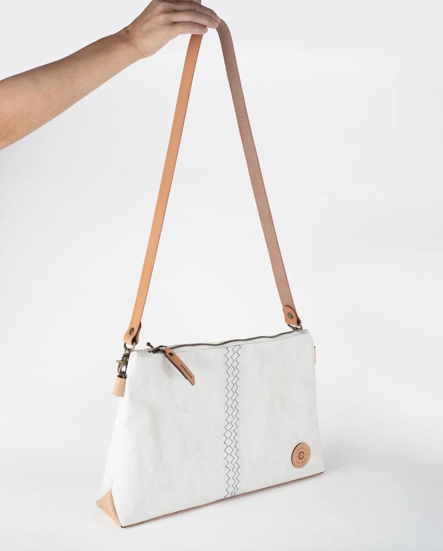 sailcloth and leather side bag
