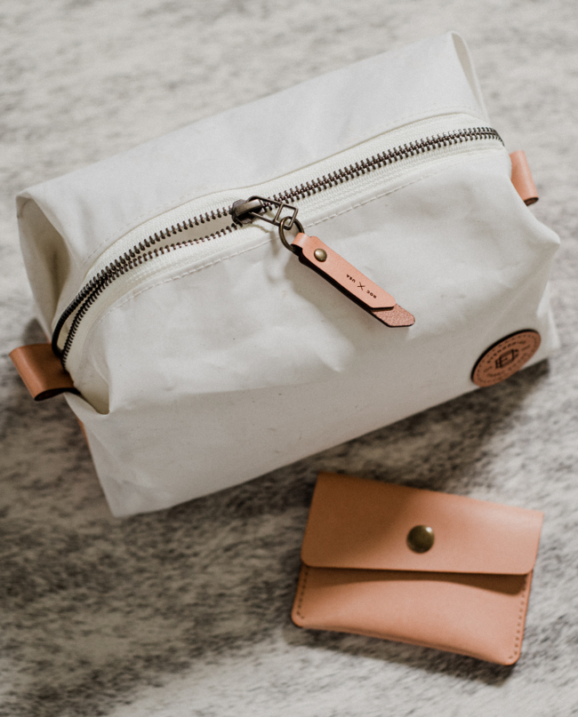 sailcloth and leather dopp kit