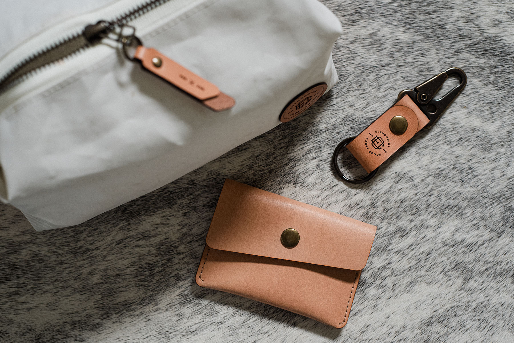 sailcloth and leather dopp kit and snap wallet