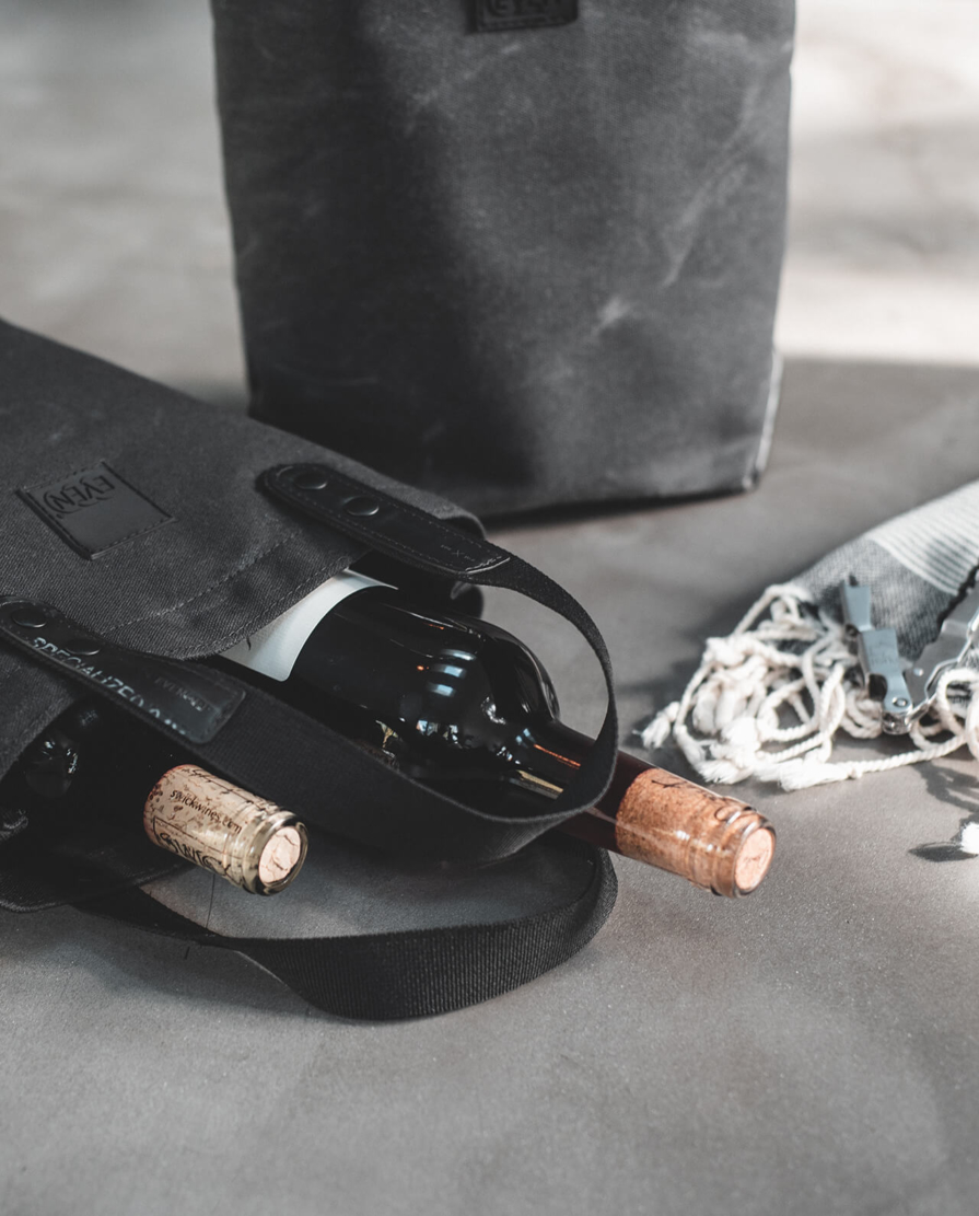 2 bottle waxed canvas wine tote