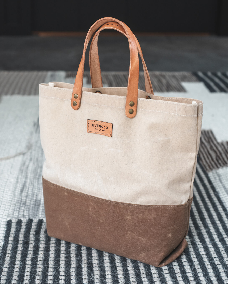 Colorblock Everyday Tote: Waxed Canvas and Leather