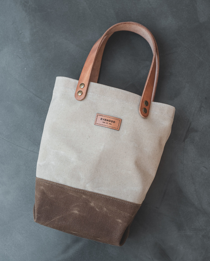 Colorblock Wine Tote: Waxed Canvas and Leather