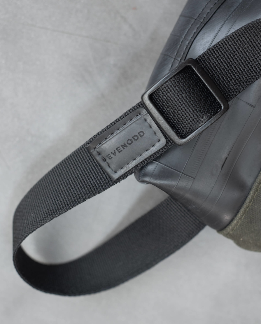 inner tube and waxed canvas fanny pack